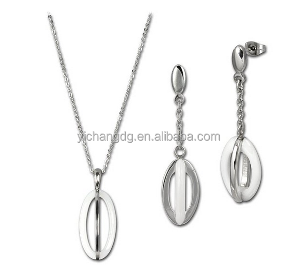 Women Set Ceramic Ellipse White With Stainless Steel Necklace And Earrings