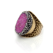 wholesale amethyst druzy natural stone gemstone diamond engagement gold finger ring women jewelry