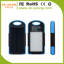 Safe and real outdoor 5000mAh solar power bank for samsung/huawei/htc/iphone