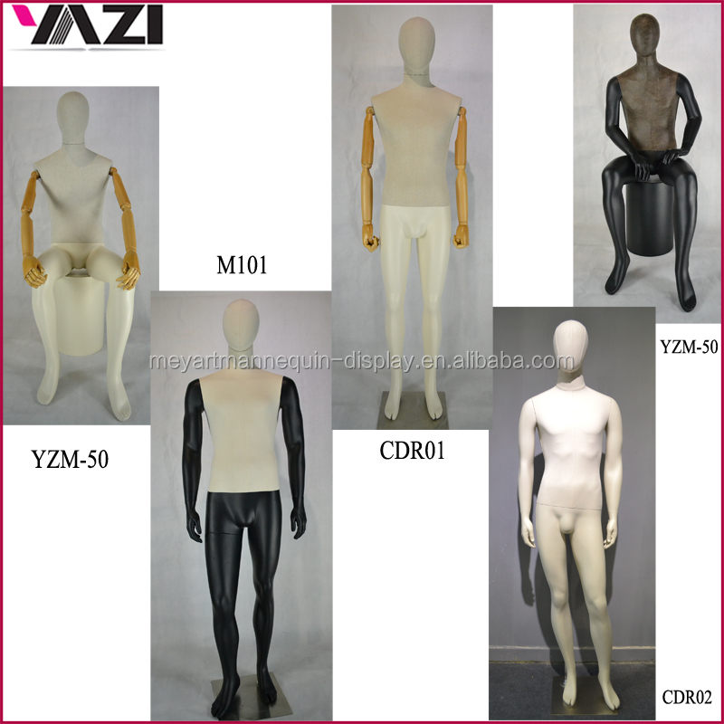 Full body wholesale male mannequin with linen covered