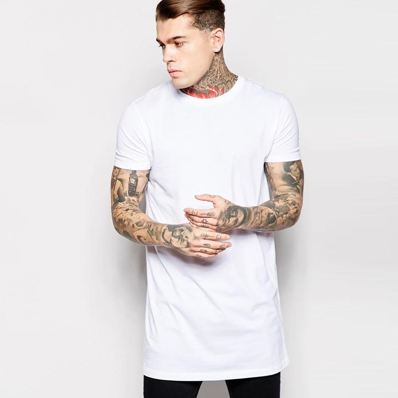 Short Sleeve Long Line T Shirt Men 100% Cotton Extended Length In ...