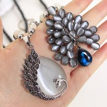 Clearance Sale! Korean Black Necklace Long Pendants Beads Chain Character Opal Sweater Necklace