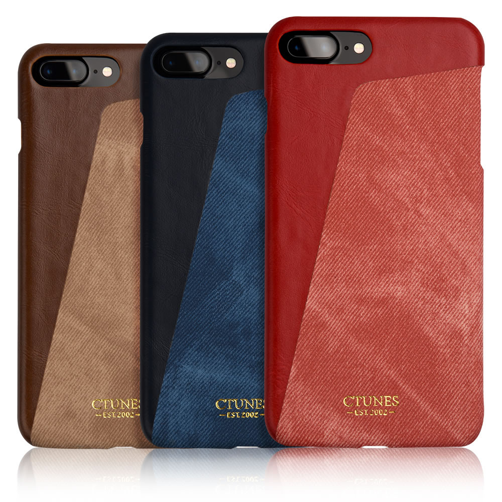 C&T RFID Blocking Synthetic Leather Wallet Case with Canvas Styling Card Case for iPhone 7 Plus