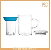 Three in One Design Tumbler, Tea-for-one Set With Glass Lid, Handmade Glass Filter And Cup