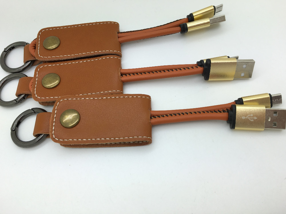 Luxury Portable Short leather 2 in 1 usb cable 20 cm keychain usb cable 2.1A for smartphone