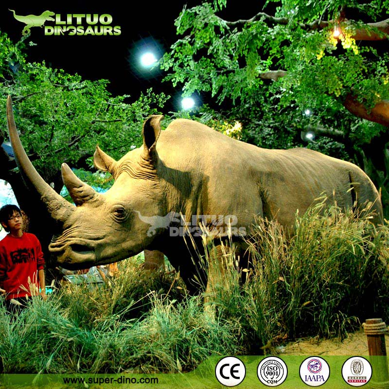 Exhibition Animatronic Real Size Animal Model of Rhinoceros