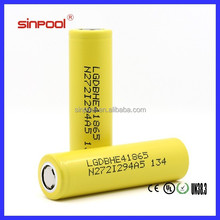 Hot!!!High quality LG He4 18650 2500mah 30amp max discharge current 18650 5v li-ion battery
