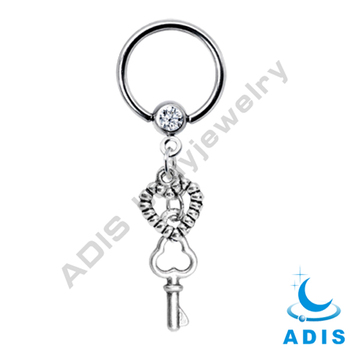 The Latest Key and Heart Crystal Ball Dangle Closure Ring
