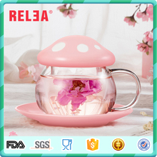 2017 New 300ml Single Wall Glass Tea Cup with Ceramic Saucer and Lid and Glass Infuser