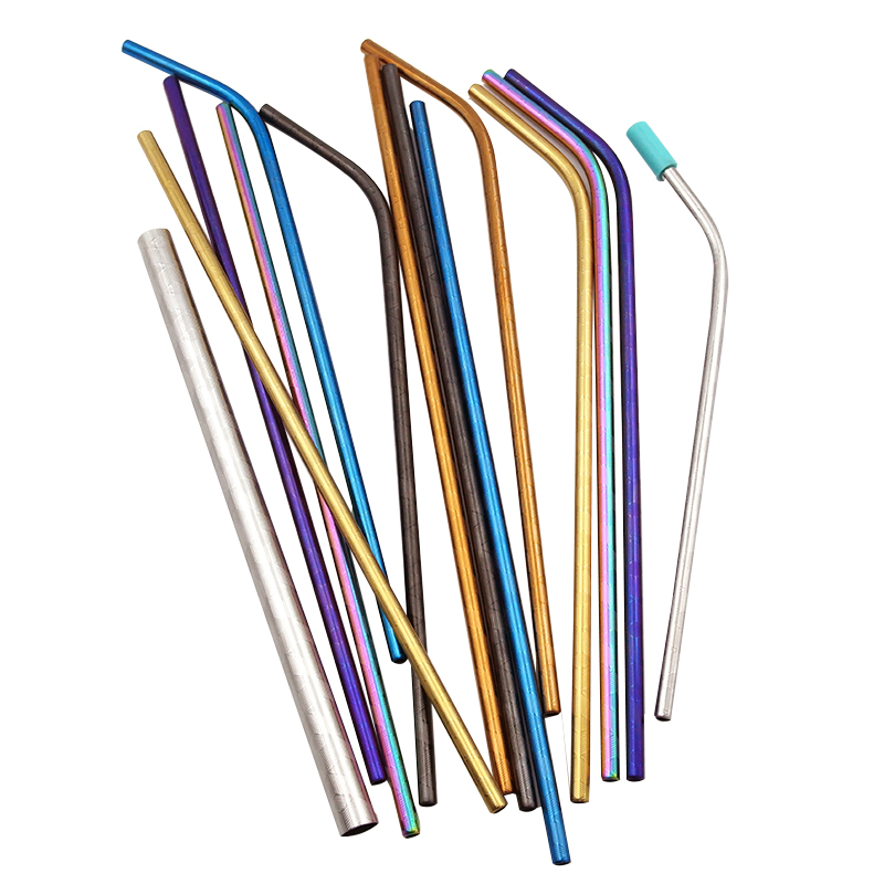 Eco Friendly Straws Wholesale Metal Colorful Reusable Drink 304 Stainless Steel Straw