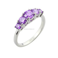 Wholesale Platinum Plate 925 Sterling Silver Purple Crystal Radiant Cut Cubic Zirconia Women Rings Size6-9
