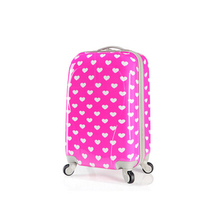Two sizes red color polka dot pc hard side luggage