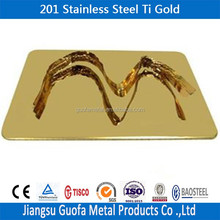 0.5mm Mirror Surface Finish 201 Ti Gold Stainless Steel Sheet