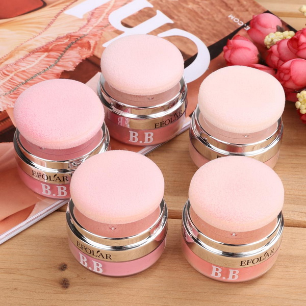 5 Colors 3D <strong>Face</strong> Loose Powder Blush Blusher Soft Natural Cheek Makeup Cosmetics with Mirror Puff