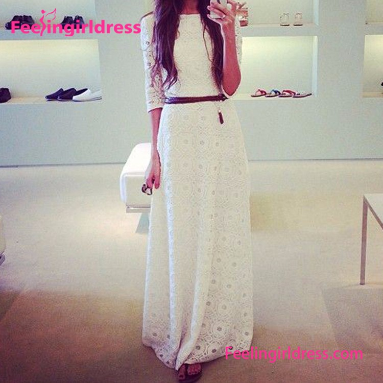 Wholesale White Elegant Chiffon Long Sleeve Maxi Evening Dress