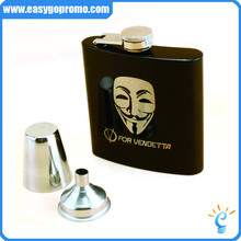 Best Selling Products Black Matte Spray Paint 7oz Stainless Steel Flask Hip /liquor bottle With Customized Logo