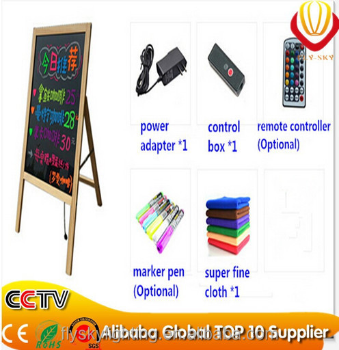 Hot selling wooden support lowest price led restaurant menu board for shops promotion