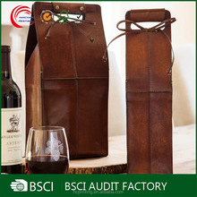 Gift bow decoration portable leather wine bag with handle