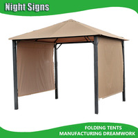 outdoor steel gazebo with rolling curtain