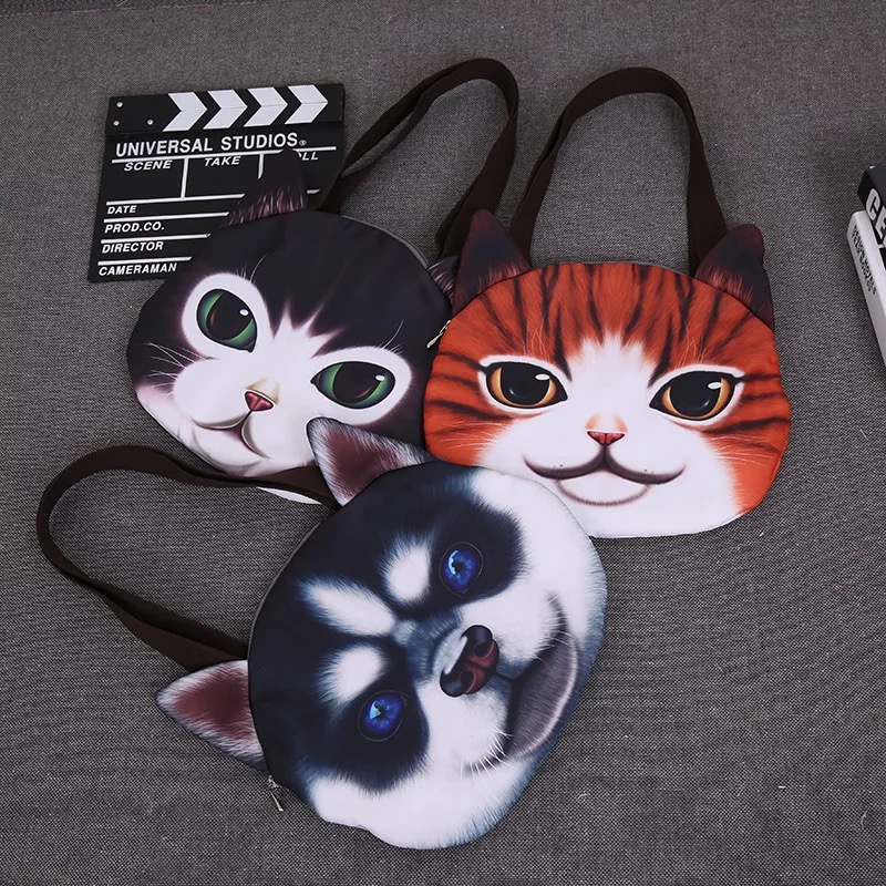Fashion 3D Dog Cat Face shoulder Bag