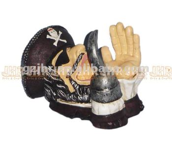Decorative Resin Pirate Wine Bottle Holder Craft