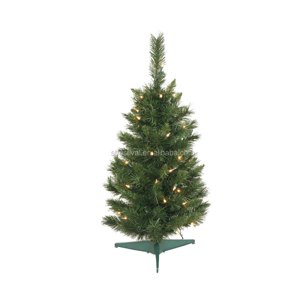"30"" feather Imperial Pine lighted plastic Mini Small christmas cone tree with 96 Tips LED Light decoration"