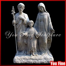 Decorative Detailed Carved White Marble Holy Family Statue
