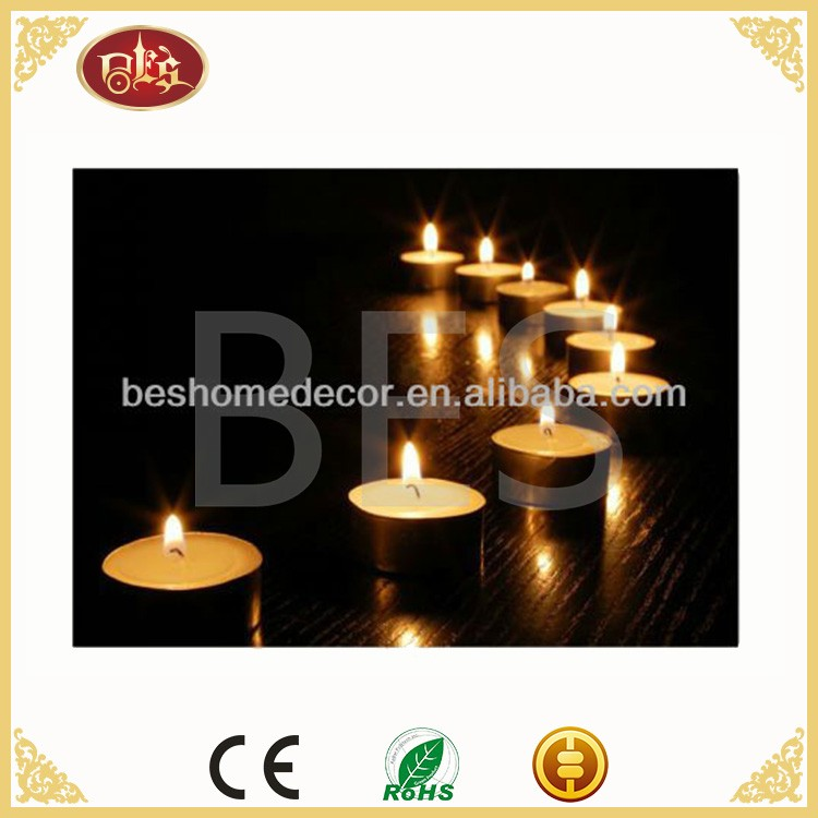 LED candle canvas,light up candle picture,flickering wall painting