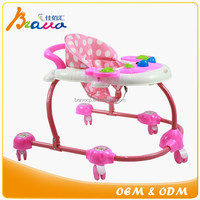 Simple Elliptical Steel Frame Walk-behind Baby Walker with Toys