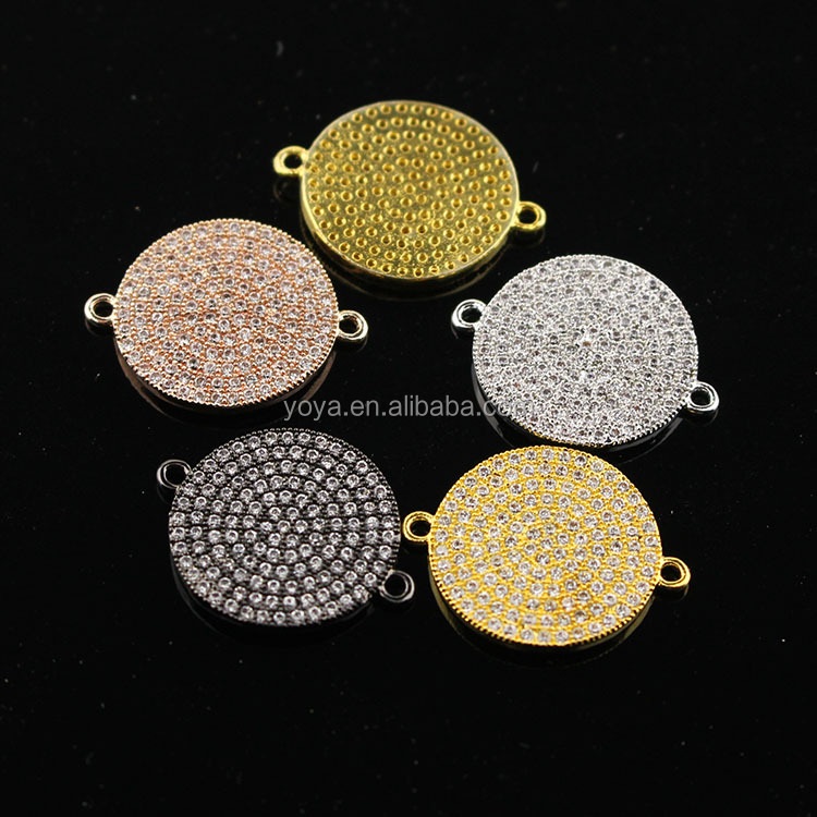 CZ6621 Silver gold rose gold gunmetal micro cz pave disc charm connectors,round charms for bracelet making