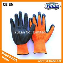 Cheap 13 gauge wave pattern polyester/nylon Nitrile palm coated Work glove