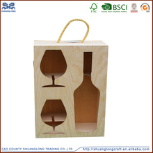 2015 natural wood high quality handcraft unfinished wooden wine box wooden box the latest packaging