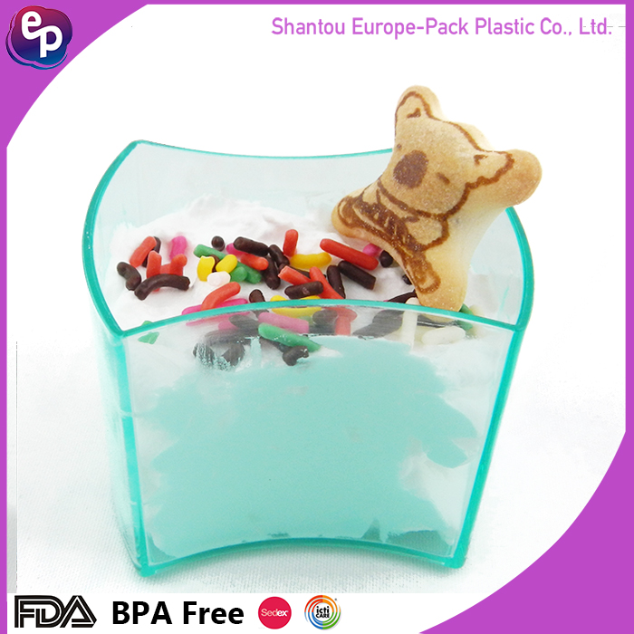 Europe pack dinner utensils 60ml clear ice cream cylinder container/ps plastic pudding cup