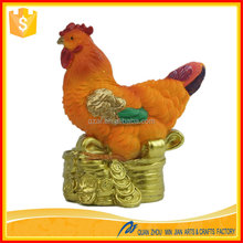 ODM/OEM Life size Golden color high quality rooster feng shui statues sculpture animal figurine for home
