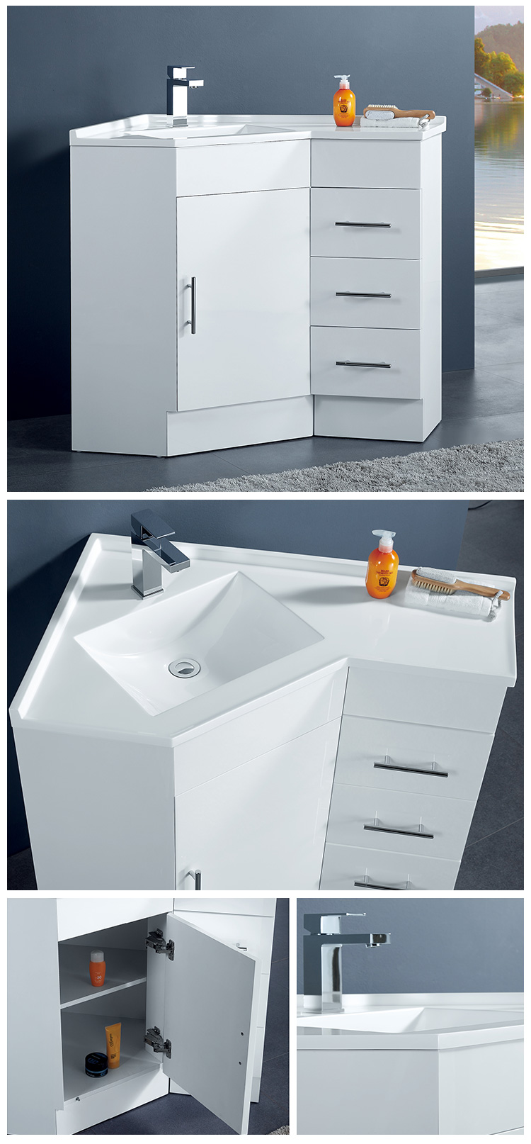 Floorstanding Bath Room Cabinet Corner Make Up Vanity Sink  Cupboard Design Cabinet Setts From Australia