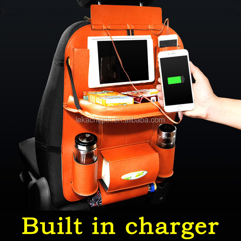 Auto Car Back seat organizer storage bag Backseat pocket Folding table /<strong>w</strong> USB charger Apple iPhone iPad sumsang LG HTC MI OPPO