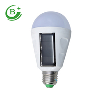 Super bright e27 7w 12w rechargeable led solar emergency light bulb