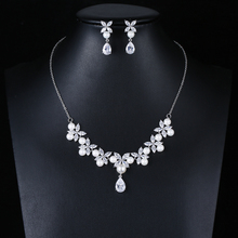 Fashion gold plated cubic zircon pearl necklace set