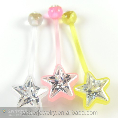 China factory body piercing jewelry crystal plastic belly navel ring