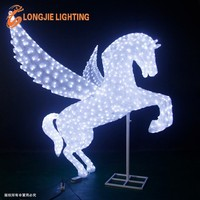 H:100cm L:90cm acrylic waterproof Pegasus flying white winged horse led light with wings for outdoor decorations