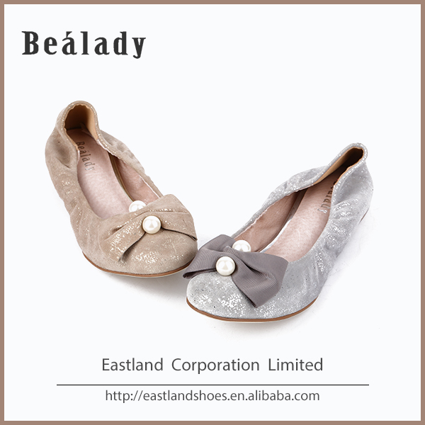 Hot sale casual sparkle suede leather spring ballerinas women shoes