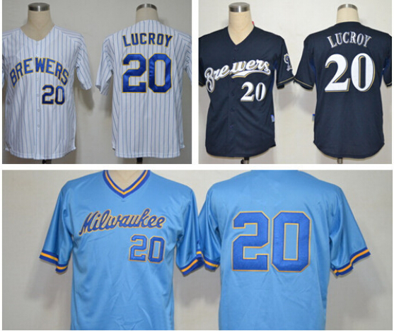 NWT Brewers 20 Jonathan Lucroy Jersey White blue strip Best Stitched Cheap Newest Milwaukee Brewers Baseball Jersey Wholesale