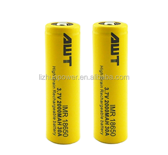 awt li-ion battery awt 18650 battery 3.7v 2000mah 30a for dab rig 510 e-nail quartz club banger enail