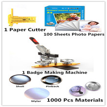 25MM badge maker button machine kit include mold+cutter+photo <strong>paper</strong>+materials