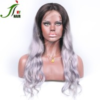 China Wholesale human hair grey lace front wig for black women,glueless ombre dark roots full lace wig wholesale china