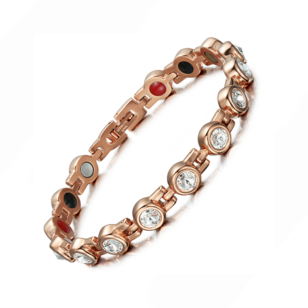 PINKGOLD Christmas Day Bling Bling Diamond Stainless Steel Magnetic 4 in 1 Bracelet Gift <strong>Crafts</strong>