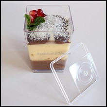Cute Clear Plastic Square Parfait Cups 3oz 4oz Dessert cup with lids,custom plastic dessert cup china suppliers manufacturer