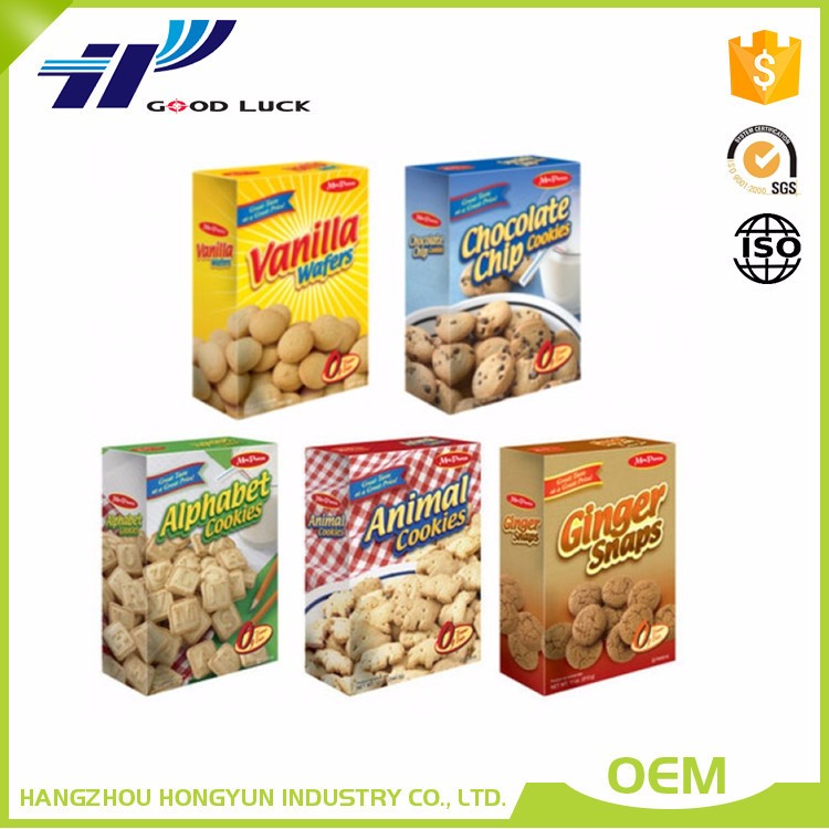 Wholesale custom printed paper food packaging boxes for cookie/chocolate bar/snack