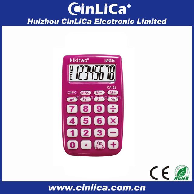 8 digits fancy pocket electronic calculator with bibi sound