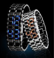 2015 hot lava style red &blue light led iron watches top quality stainless steel watch case iron samurai led brand watch